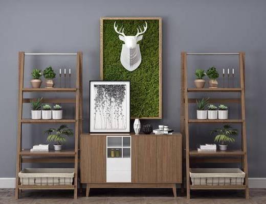 现代边柜, 边柜, 置物架, 装饰柜架