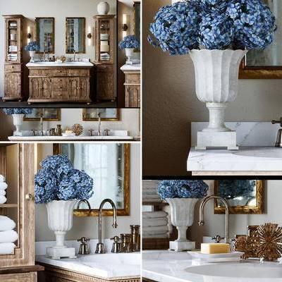 欧式, 美式, 简欧, 洗手台, 花瓶, 毛巾架, 镜子