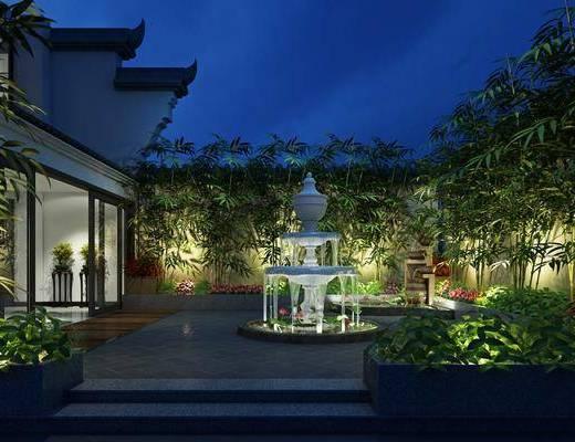 庭院, 花园庭院, 树木, 绿植, 装饰架, 新中式