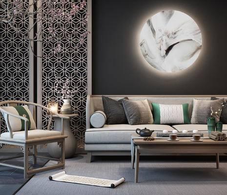 新中式, 沙发, 茶几, 椅子, 茶具, 摆件, 边几, 台灯, 墙饰