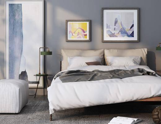 双人床, 装饰画, 床具组合, 沙发凳