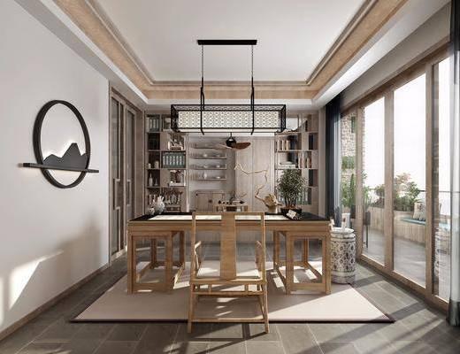 书房, 书桌, 单人椅, 装饰柜, 书柜, 摆件, 书籍, 吊灯, 墙饰, 新中式