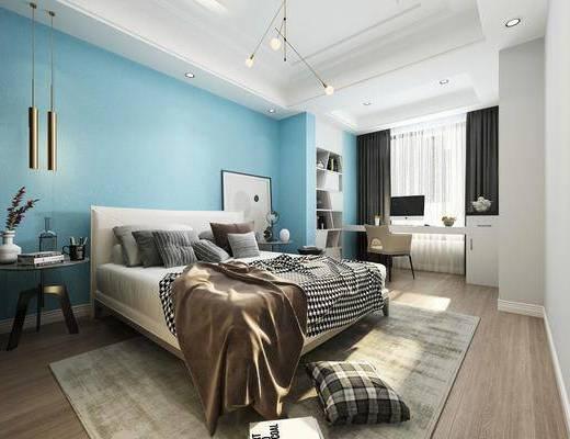 卧室, 现代卧室, 床具组合, 摆件