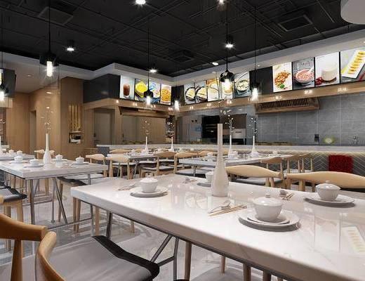 新中式, 餐厅, 餐桌, 餐椅, 餐具
