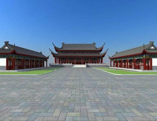 古建, 寺庙, 室外, 草坪
