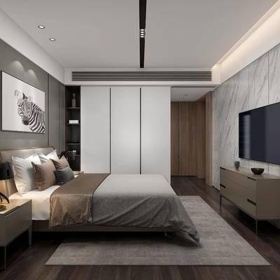 现代卧室, 现代, 卧室, 床, 装饰画, 床头柜, 电视柜, 衣柜, 门