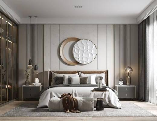 现代卧室, 双人床, 墙饰, 床头柜