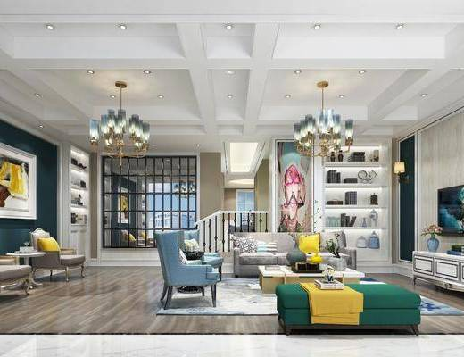 客厅, 沙发组合, 沙发茶几组合, 电视柜, 单椅, 单人沙发, 吊灯, 装饰柜, 美式, 简欧
