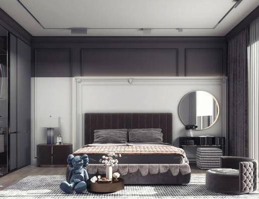 双人床, 床具组合, 衣柜, 床头柜, 桌椅组合, 壁镜
