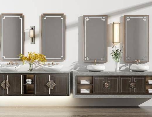 洗手盆, 壁灯, 壁镜, 盆栽植物