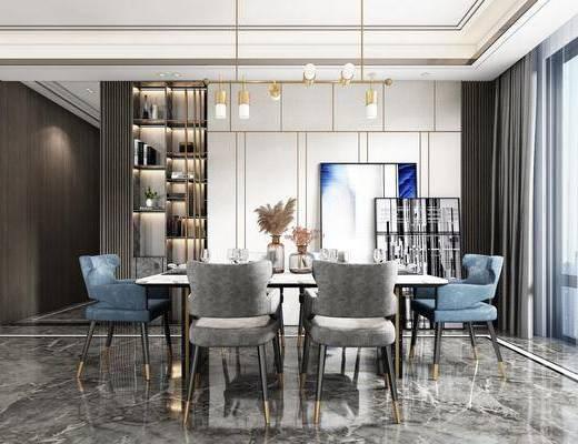 餐厅, 桌椅组合, 吊灯, 餐具组合, 装饰画