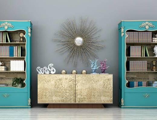 美式装饰柜, 书柜, 边柜, 玄关柜, 电视柜, 端景台, 墙饰, 装饰品摆件