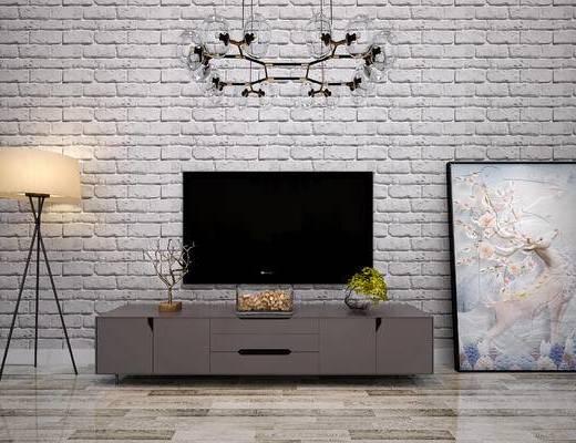 现代电视柜, 北欧电视柜, 现代落地灯, 北欧落地灯, 现代吊灯, 北欧吊灯, 电视柜, 落地灯, 装饰画, 挂画, 吊灯