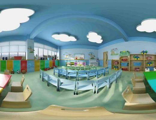 现代清沐幼儿园蓝色主题教室, 桌椅组合, 单人椅, 储物柜, 玩具