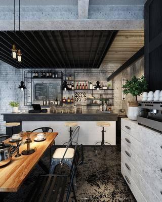 奶茶店, 吧台, 餐桌椅, 餐边柜, 桌椅组合