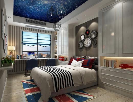 儿童房, 卧室, 现代卧室, 床, 椅子, 挂钟