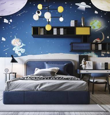 床具组合, 书桌椅, 吊灯组合, 单人床, 背景墙