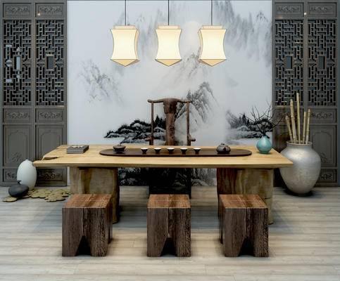 新中式, 茶室, 吊灯, 茶具