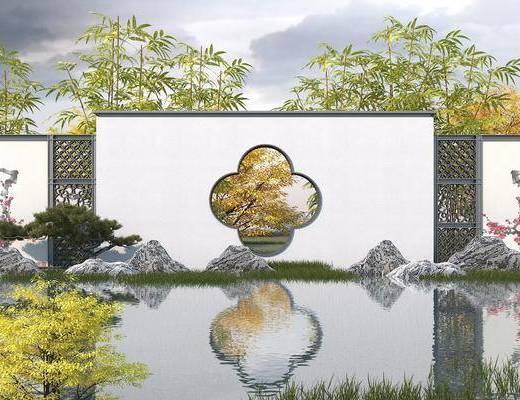 中式, 景墙, 围墙