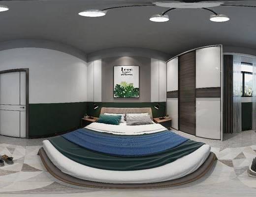 卧室, 家装全景, 床具组合, 挂画, 边柜组合, 摆件组合, 吊灯, 现代