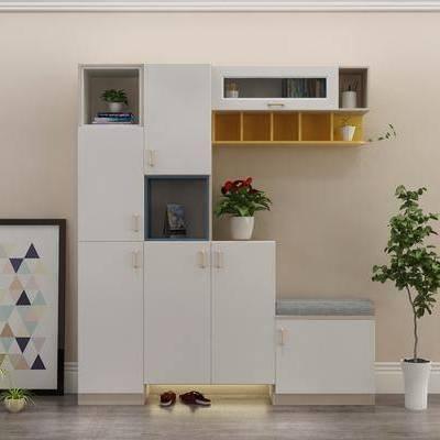 鞋柜, 现代, 装饰画, 盆栽