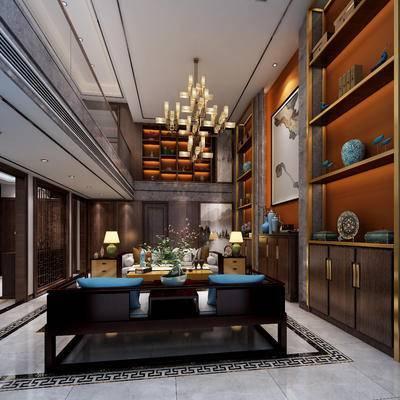 新中式会客厅, 会客厅, 新中式客厅