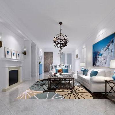 地中海, 吊灯, 沙发组合, 沙发茶几组合, 壁炉, 装饰画