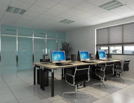 办公室, 电脑桌, 办公桌, 办公椅, 单人椅, 现代