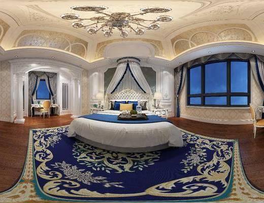 卧室, 家装全景, 双人床, 床头柜, 书桌, 单人椅, 电视柜, 边柜, 吊灯, 摆件, 装饰品, 陈设品, 欧式