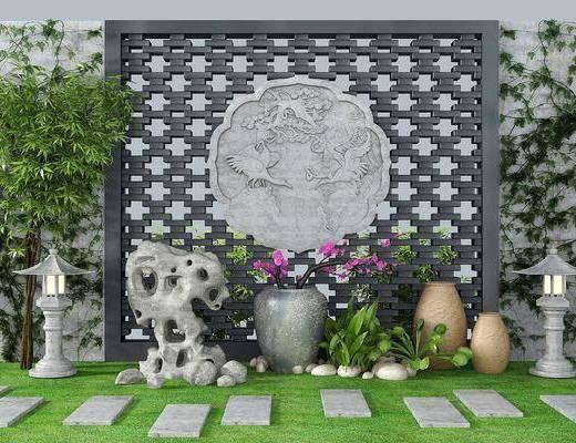 园艺小品, 竹子砖雕, 石头小景, 植物墙, 新中式