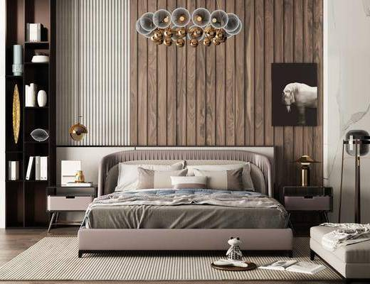 臥室, 床具組合, 吊燈, 擺件組合, 裝飾品, 現代