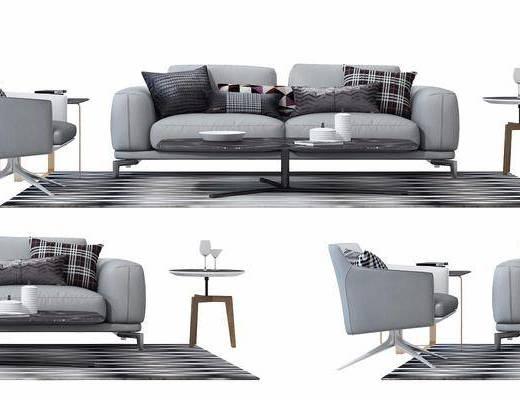 双人沙发, 边几, 单人沙发, 地毯, 布艺沙发, 现代