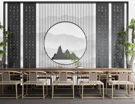 茶室, 盆栽, 绿植植物, 树木, 茶桌, 单人椅, 泡茶桌, 新中式