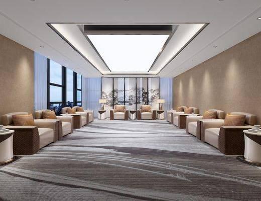 接待室, 前台接待, 单人沙发, 屏风, 边几, 台灯, 现代