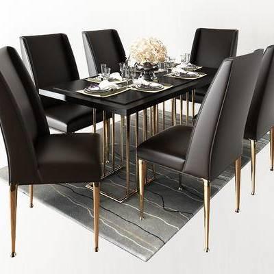 现代奢华金属餐桌椅, 高档餐桌椅, 皮餐椅, 餐桌碗碟组合, 摆件, 餐桌椅组合, 现代