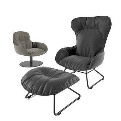 现代休闲椅脚踏组合, 现代, 休闲椅, 椅子, 单椅, 脚踏