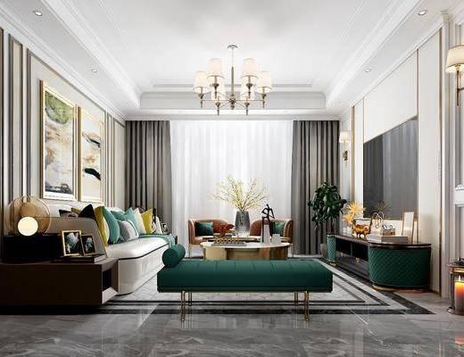 客厅, 多人沙发, 茶几, 躺椅, 边几, 台灯, 壁灯, 吊灯, 装饰画, 挂画, 单人沙发, 盆栽, 绿植植物, 电视柜, 边柜, 摆件, 装饰品, 陈设品, 美式