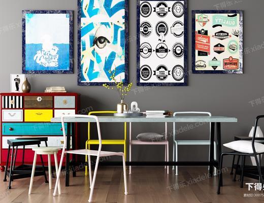 桌子, 椅子, 装饰画, 边几, 装饰柜, 北欧