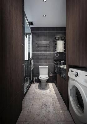 卫生间, 洗衣机, 马桶, 洗手台, 毛巾架, 淋浴间