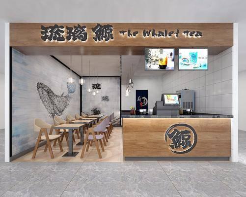 奶茶店铺, 门面门头, 桌子, 单人椅, 吊灯, 日式
