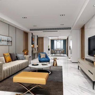 现代客餐厅, 现代, 现代客厅, 现代餐厅, 沙发组合, 电视柜, 餐桌椅, 椅子, 吊灯