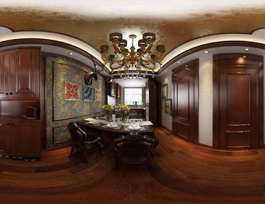 餐厅, 餐桌, 餐椅, 单人椅, 吊灯, 餐具, 装饰柜, 装饰画, 挂画, 厨房, 橱柜, 盆栽, 绿植, 家装全景, 美式
