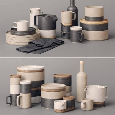 杯碗碟瓶勺, 餐具组合, 摆件组合, 现代