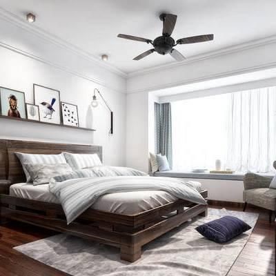 卧室, 床, 装饰品, 摆件, 现代壁灯, 装饰画, 现代卧室, 现代