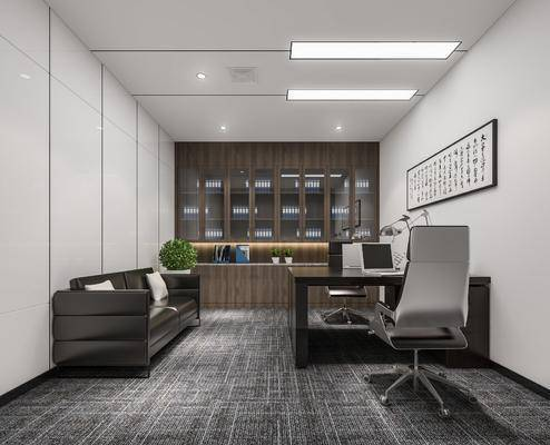 办公室, 办公桌, 办公椅, 单人椅, 台灯, 文件柜, 双人床, 盆栽, 绿植植物, 现代