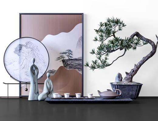 摆件组合, 盆栽植物, 装饰画, 装饰品