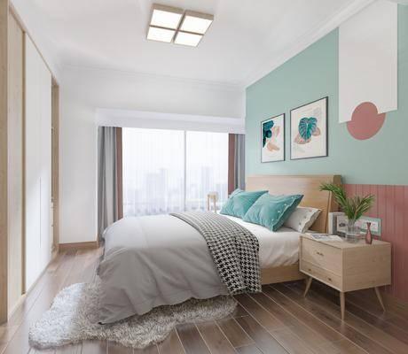 单人床, 墙饰, 摆件组合, 床头柜