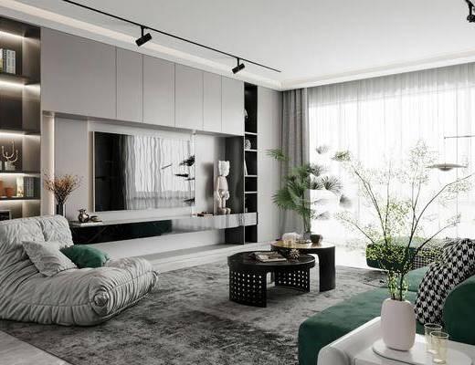 现代简约客厅, 沙发, 茶几, 电视柜