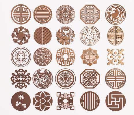 圆形镂花, 雕花, 中式