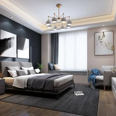 现代卧室, 现代, 卧室, 布艺床, 电视柜, 、床头柜, 吊灯, 装饰画, 椅子